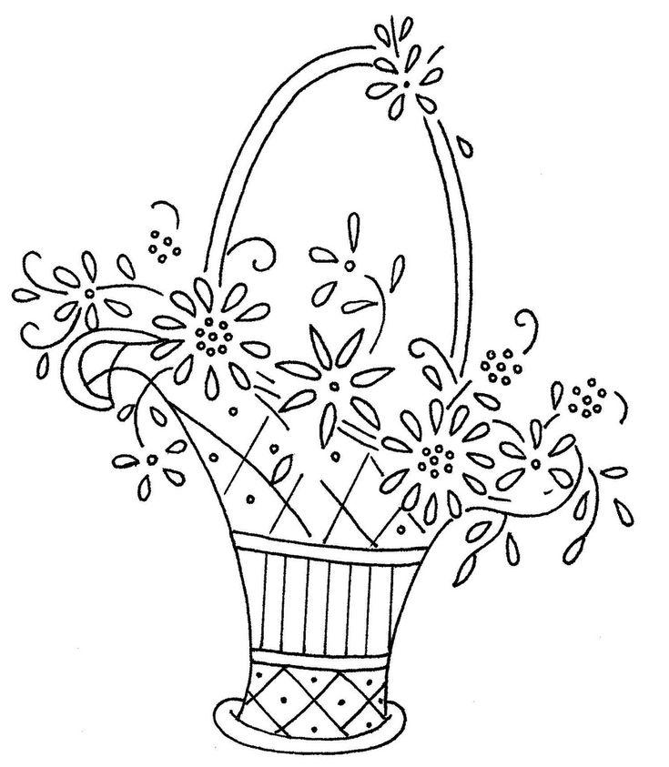 Floral Basket Embroidery or Redwork