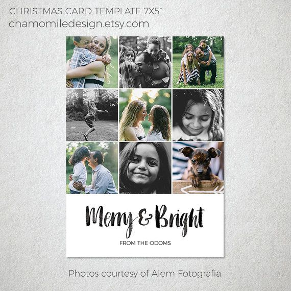 Holiday Christmas Photo Card Template, Photoshop template for photographers, Watercolor Be Merry, 5x7 Flat card, INSTANT DOWNLOAD, Modern