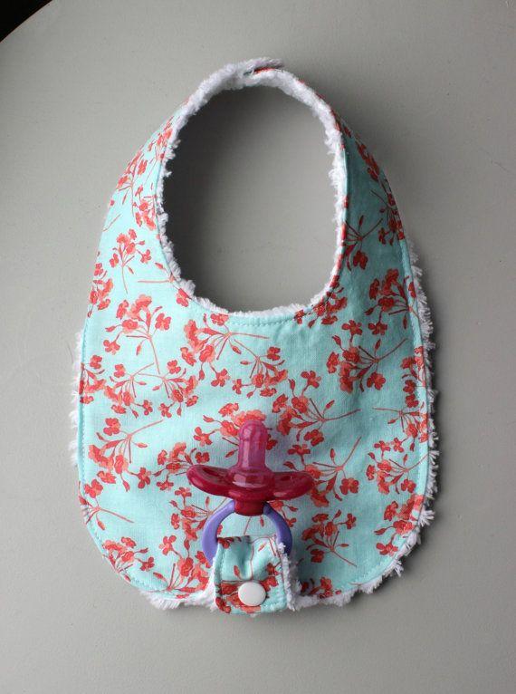 Baby Girl Binky Bib in Riley Blake Kensington Fabric with Chenille Back