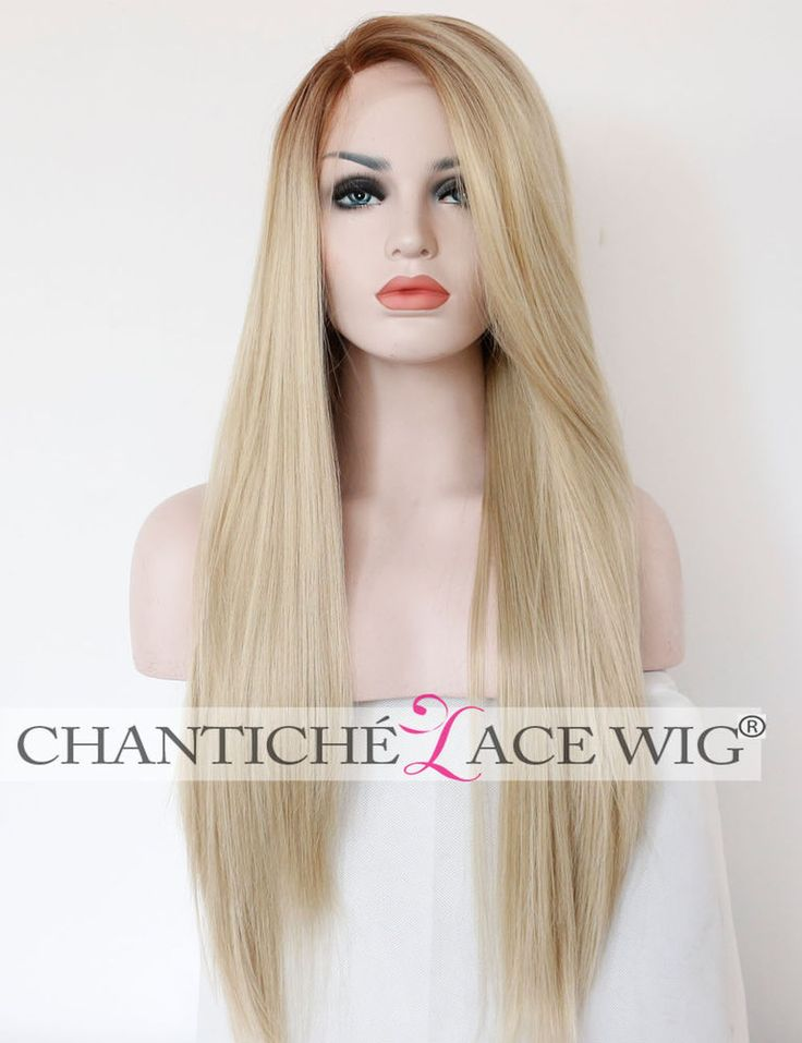 Blonde Ombre Long Straight Synthetic Hair Lace Front Wigs Side Part For Women #Unbranded #FullWig