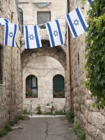 Flags Decorate for Declaration of Independence Holiday Called Yom HaAtzmaut, Jerusalem, Israel