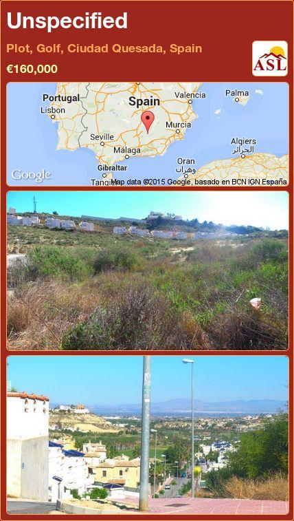 Unspecified in Plot, Golf, Ciudad Quesada, Spain ►€160,000 #PropertyForSaleInSpain
