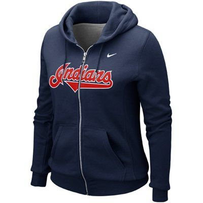 Nike Cleveland Indians Women's Classic Full Zip Hoodie - Navy Blue