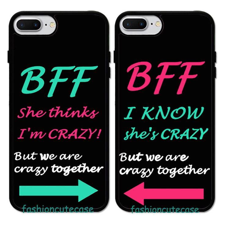 2PCS Best Friend BFF Double Rubber Case Cover For iPhone 7 Plus 6S 5 5C 4. #Unbr…