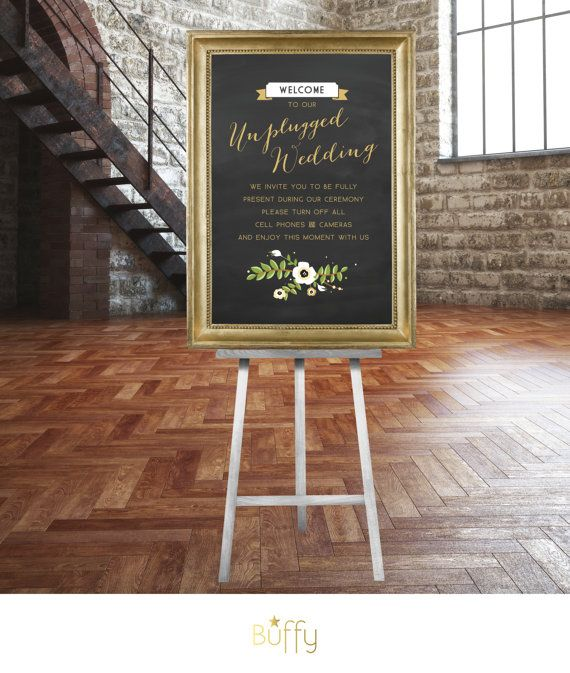 The FRANCES . Unplugged Wedding Sign .  Gold & Chalkboard Calligraphy No iPhone Cameras Vintage Floral Rustic .  Wedding Custom  Poster  PDF