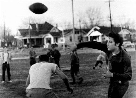 Elvis playing football