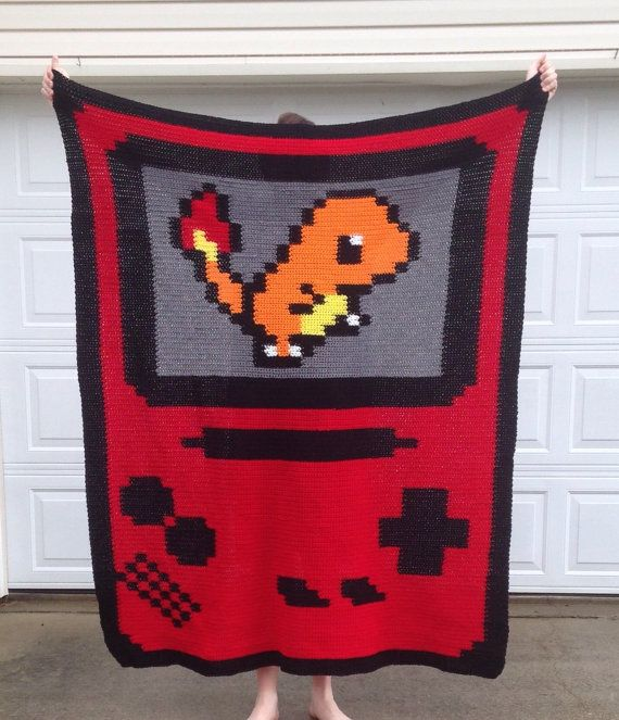Handmade Crochet Pokemon/Gameboy Afghan Blanket by TheBusyCraftBee
