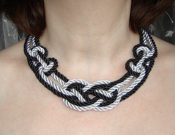 FREE SHIPPING. Black and silver  sailor knot necklace. Silk