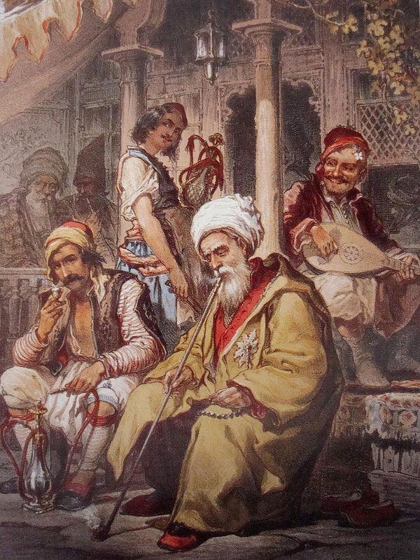Ottoman Cafe (Islambol, Ottoman Caliphate) -Amadeo Preziosi (Painter; 1816-1882 CE)