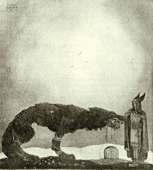 Tyr and Fenrir - by Swedish artist John Bauer.