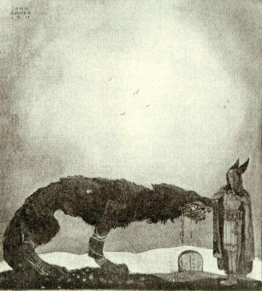 Tyr and Fenrir - by Swedish artist John Bauer.
