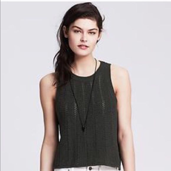 NEW!Banana  Republic Sweater Vest New dark gray BR cropped tank!  Stunning piece, beautiful color but the fit is not right for me.  This is new unworn sweater.  100% cotton. Photo credit: Banana Republic. Banana Republic Sweaters