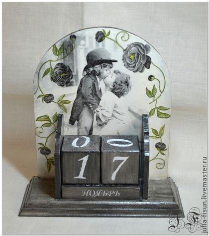 """Вечный календарь """"Любовь"""" - чёрно-белый,вечный календарь,Декупаж,декор для интерьера"""