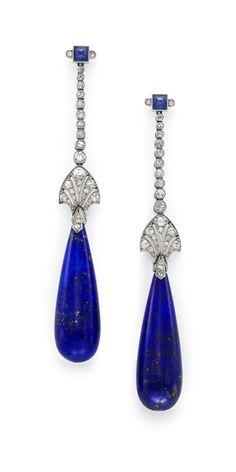 A Pair of Art Deco Platinum, Lapis Lazuli, Sapphire & Diamond Ear Pendants, by Cartier, ca 1925, with Original Box.