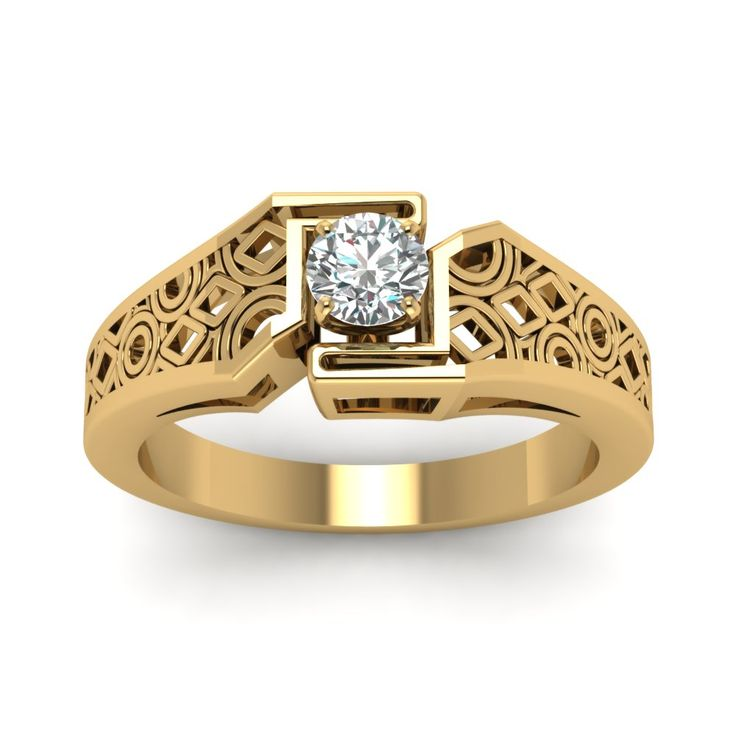 intricate o75 carat round wide solitaire ring handmade jewelry with diamonds in 14k yellow - Clearance Wedding Rings