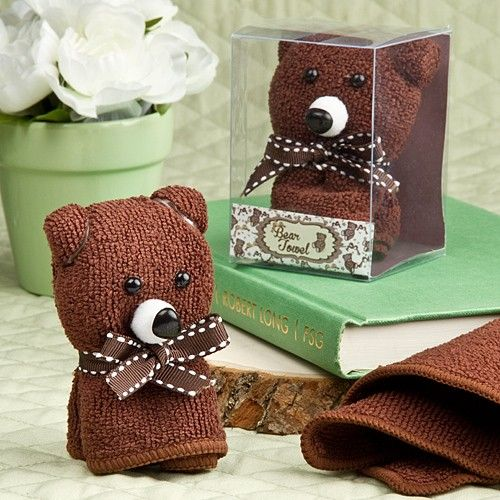 Whether you are doing a Teddy Bear themed baby shower or Winnie The Pooh, this favor is adorable. This adorable useful teddy is a uniquely folded washcloth.