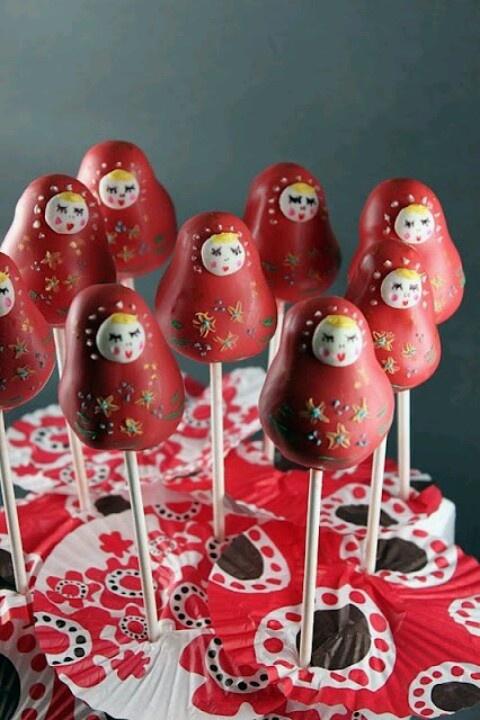 Cakepops Russian style Хорошая идея для украшения стола, сделать можно за 1 вечер