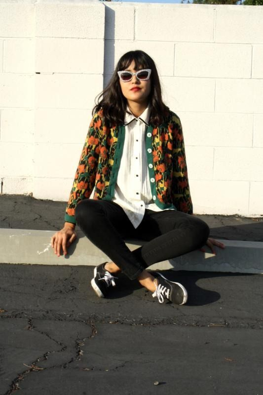 Novelty cardigan w long loose button down n skinny pant