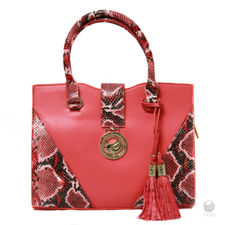 Ladies coral pink snake print faux leather tote bag  BLACK FRIDAY SALE $126 OFF!     - Two-Tone matte and snakeskin print faux leather tote - Removable FERI tassels - Top strap closure with FERI plate - Single zippered main compartment - Gold toned customized FERI hardware - Custom FERI lining   RETAIL PRICE ON OUR FERI WEBSITE AND AT OUR FASHION GALLERY IS $925. OUR EXCLUSIVE LIMITED TIME PRICE FOR SPREESY BUYERS IS $875  Leather is made in Italy, Portugal and Canada  Items are han...