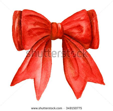 Red gift bow. Watercolor drawing. - stock photo