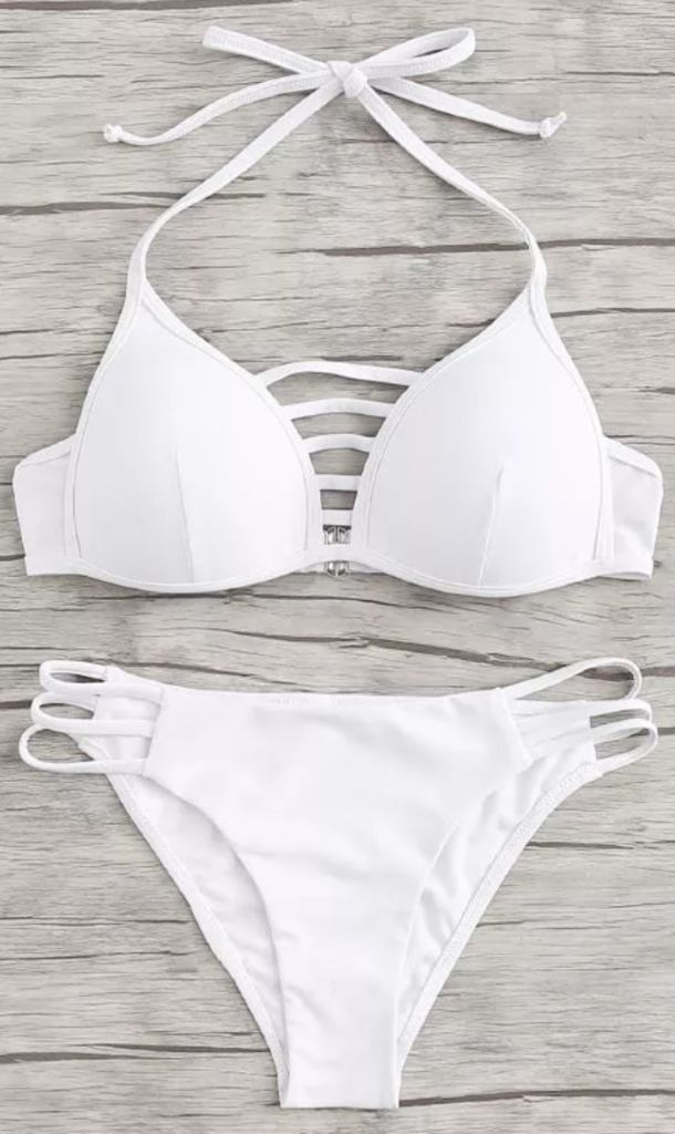 White Lattice Cutout Halter Bikini Set