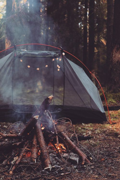 Love the feelings here: Open fire, tent, string lights, friends, open sky, memories, cold nights, staying close to stay warm.