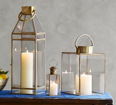 Meredith Brass Lanterns #potterybarn.  Not the right width but like the finish and look.