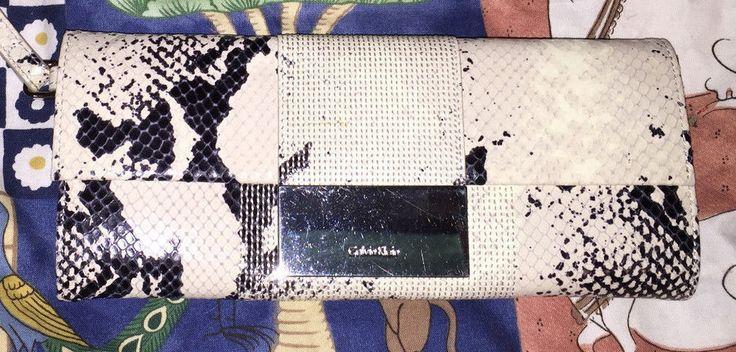 Calvin Klein collection NEW black beige snakeskin leather wallet clutch bag  #CalvinKlein #walletclutchwristlet