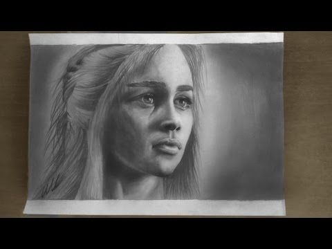 Emilia Clarke ( Khaleesi , Daenerys Targaryen from Game of Thrones ) pencil drawing - YouTube