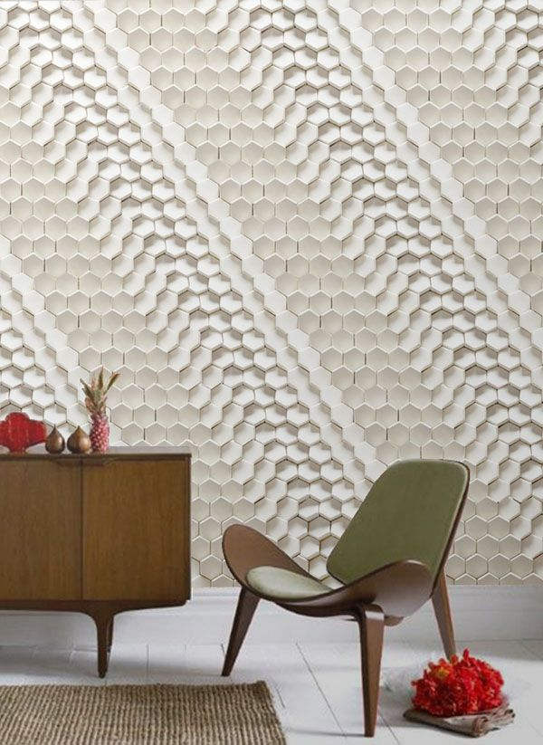 Great wall texture and we love the chair too! #wallpaper, #texture, #geometric