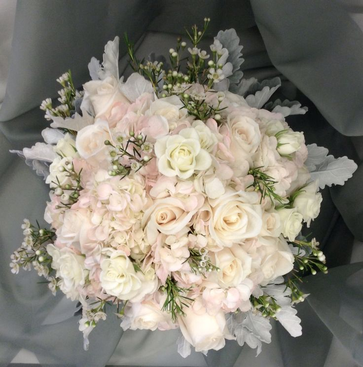Cream Roses Wax Flower And Dusty Miller By Nancy At Belton Hyvee
