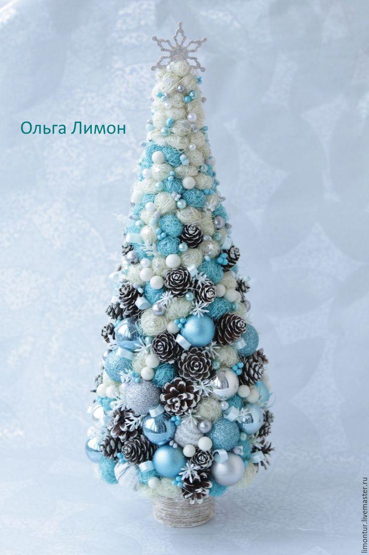 """Купить Елочка """"Breezeon45""""! - голубой, бирюзовый, серый, холодный, елка, елка2016, елка ручной работы"""