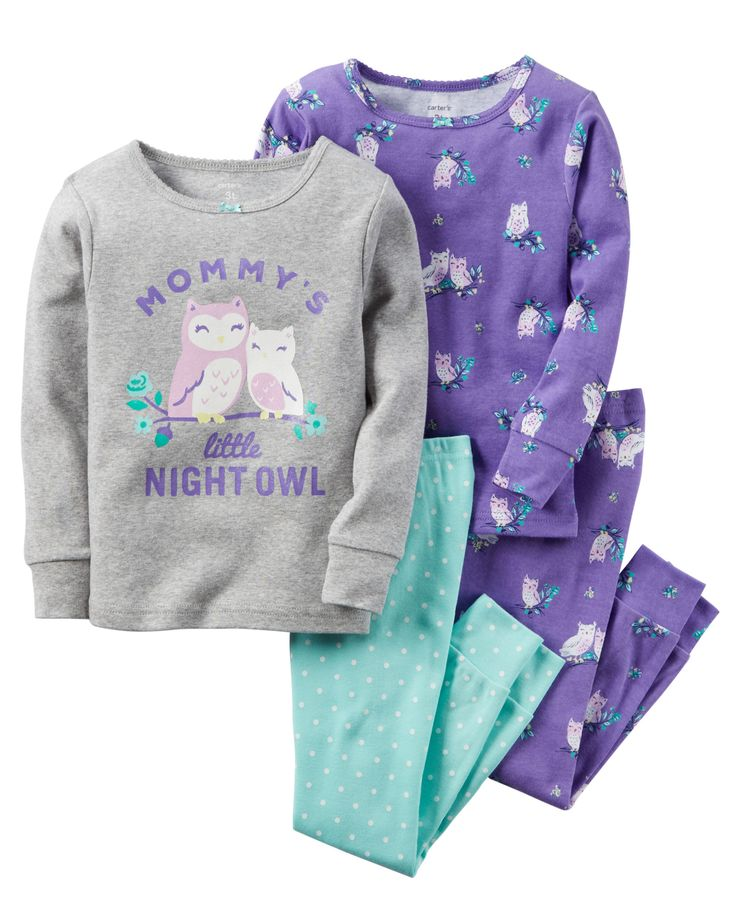 Toddler Girl 4-Piece Snug Fit Cotton PJs from Carters.com. Shop clothing &…