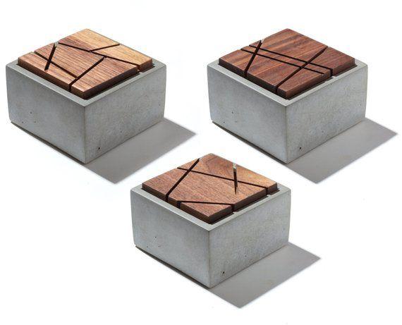 Small Grey Concrete Box with geometric sliced solid Dark American Walnut lid/Minimalist Home Decor/Jewelry Box