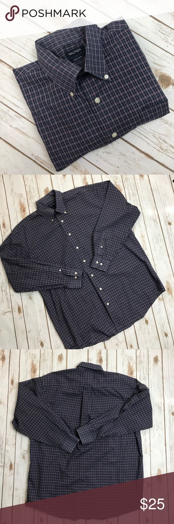 """Nautica Men's plaid shirt No rips or stains. Great condition. 100% Cotton. Armpit to Armpit 25 1/2"""" Length 32"""" Sleeve length 24"""" Nautica Shirts Casual Button Down Shirts"""