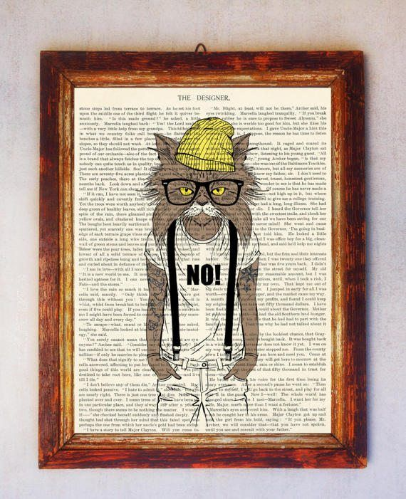 Steampunk Hipster Cat Art Print Cat Wall Art Book Art Cat