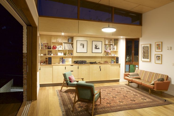 www.arcke.com.au. Bardon Garden House. Living. #arcke #brisbanearchitect #contemporaryarchitecture #plywood