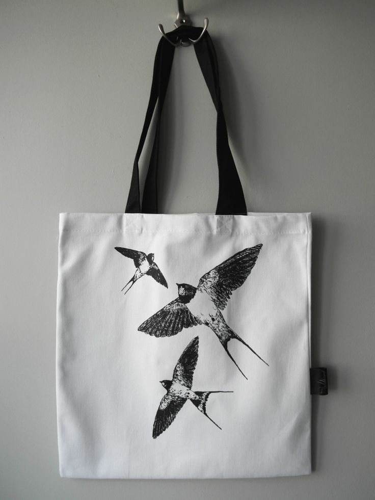 Barn swallows screen print tote bag.