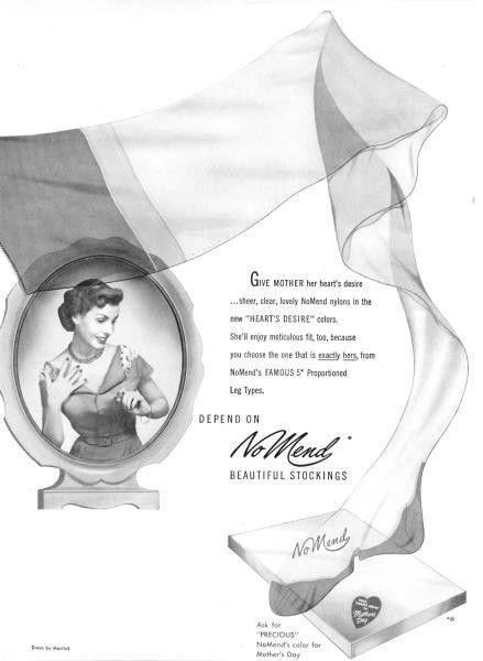 Vintage No Mend stockings ad. #vintage #ads #stockings #hoisery