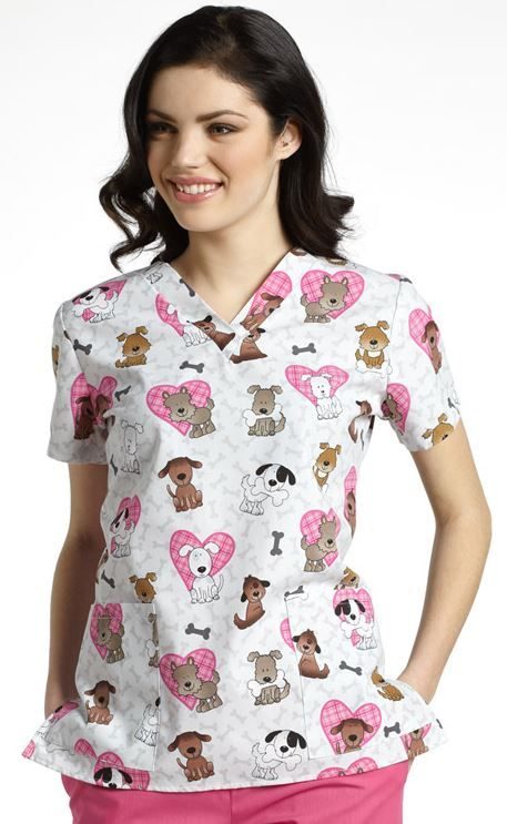White Cross Women's V-Neck Print scrub Top says you love dogs!