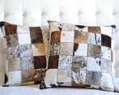 Patchwork Nguni Cowhide Pillow Covers and Inserts by Herdboi