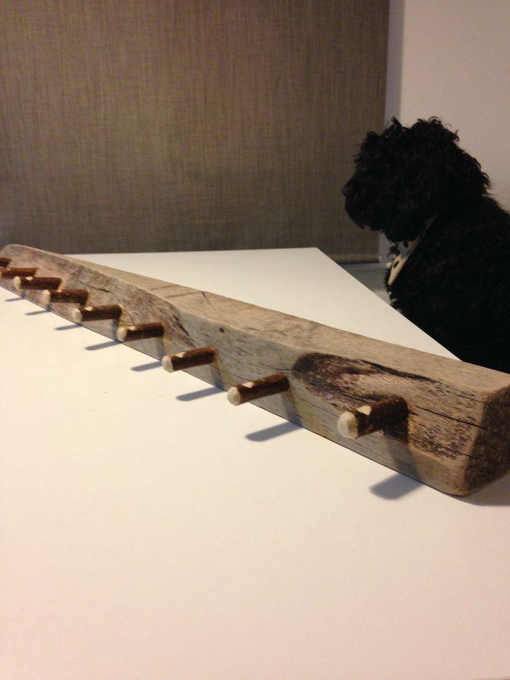 Coat rack made from drift wood & hazel sticks, the work of Mr B, DB Woodcraft