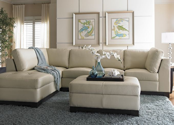 Havertys sectional sofa this cream leather sofa looks light and breezy it could be the main Light colored living room sets