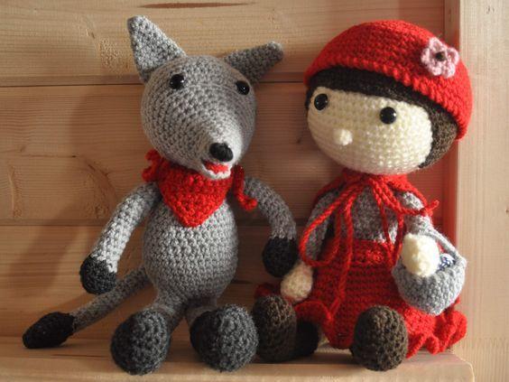 """Poupées originales au crochet façon amigurumi : """"le petit chaperon rouge"""" et le loup, laines oeko-tex, cadeau, poupées rigolotes : Jeux, jouets par le-grenier-de-nano"""