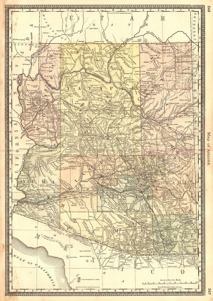 Map Of Arizona HH Hardesty Rand McNally Co Early S Map - Rand macnally southwestern us road map