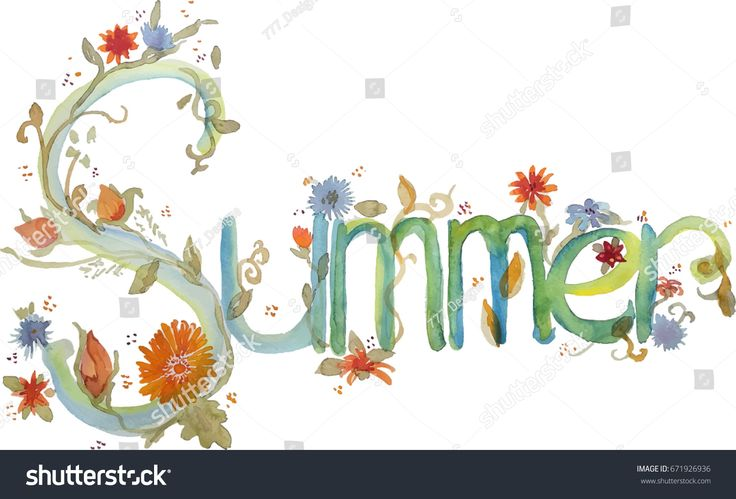Summer banner watercolor letters with floral decoration