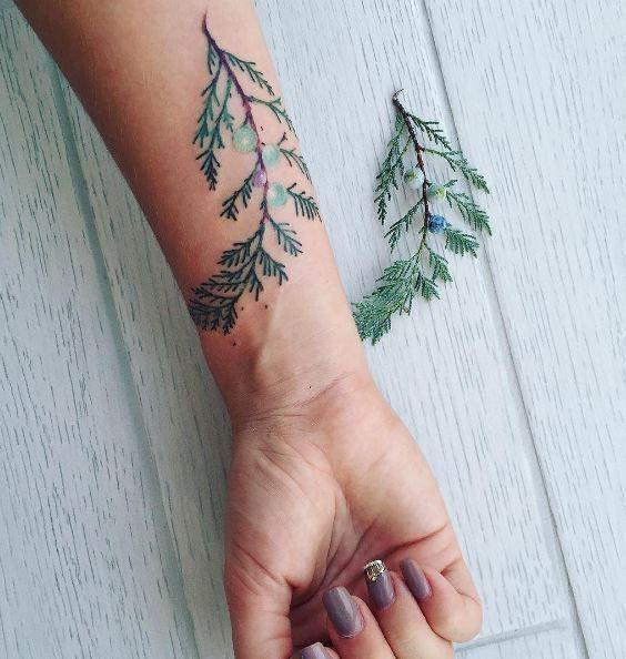 Green Pine Tree Tattoo