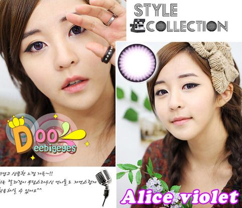 Coloured contact lenses Bigeye Natural Tones Alice contact lenses bigeye Alice_Violet Code: Alice_Violet Brand: Kitty Kawaii Soft Contact Lens Duration : 1 year Diameter(mm) : dia 14.5 Base Curve(mm) : B.c 8.60 Effect 17.0 Water content 55% Expire : 5 Years Manufactured by Vassen co.,Lt...