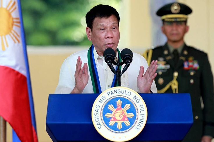 Philippine President Rodrigo Duterte spoke to troops at a ceremony in Quezon City, Philippines, on...