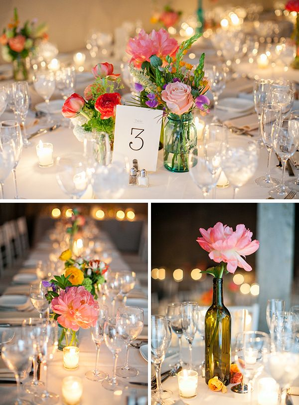 Super-cute DIY floral centerpieces  Photography via @Emily Schoenfeld Schoenfeld Wren